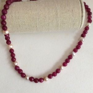 Jewelry - Pink Freshwater Pearl with Red Ruby Jade Necklace
